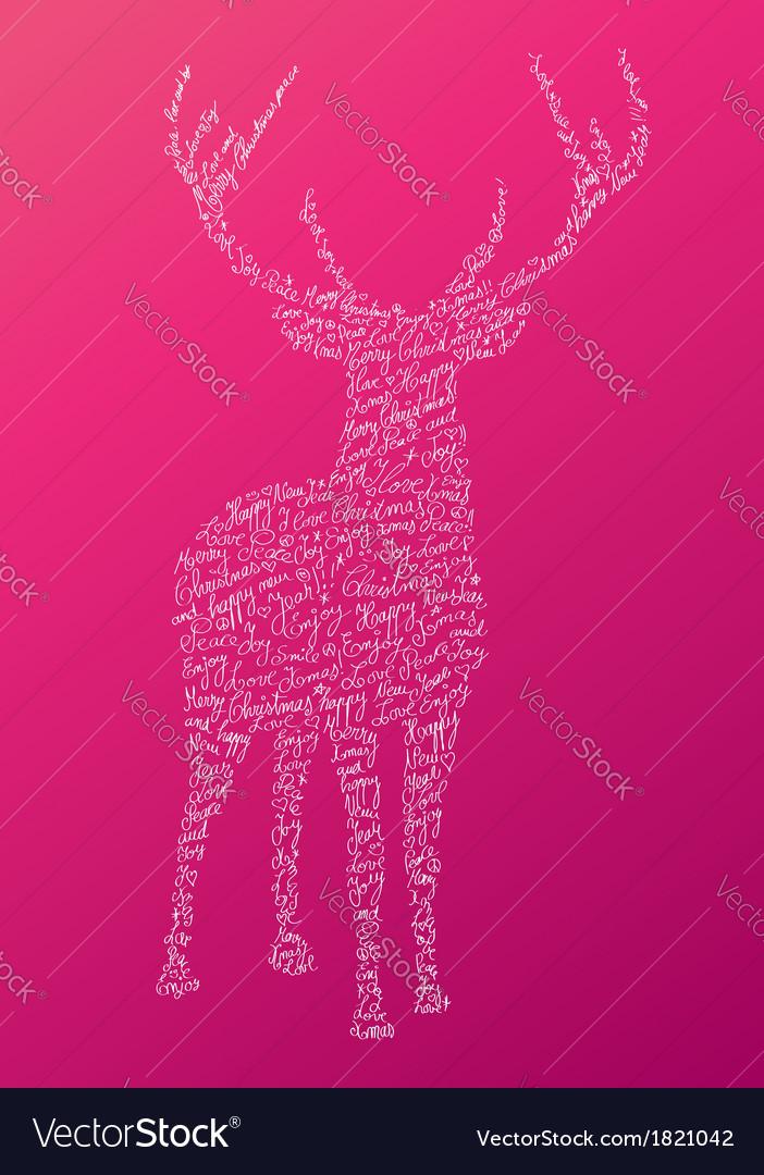 Christmas text shape reindeer composition EPS10