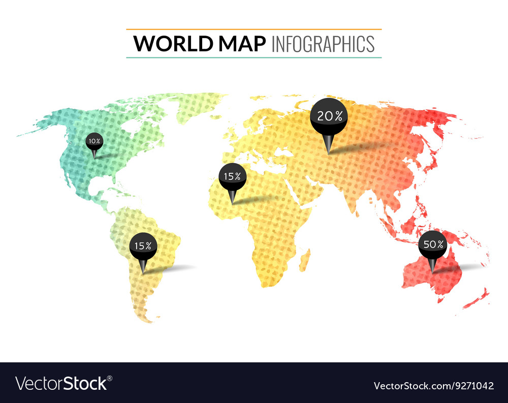 Colorful watercolor world map infographics