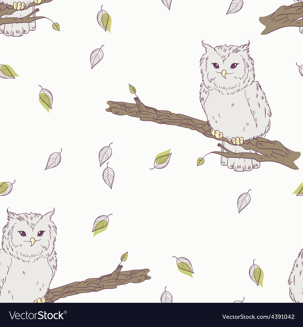 Cute childrens floral seamless pattern with owl