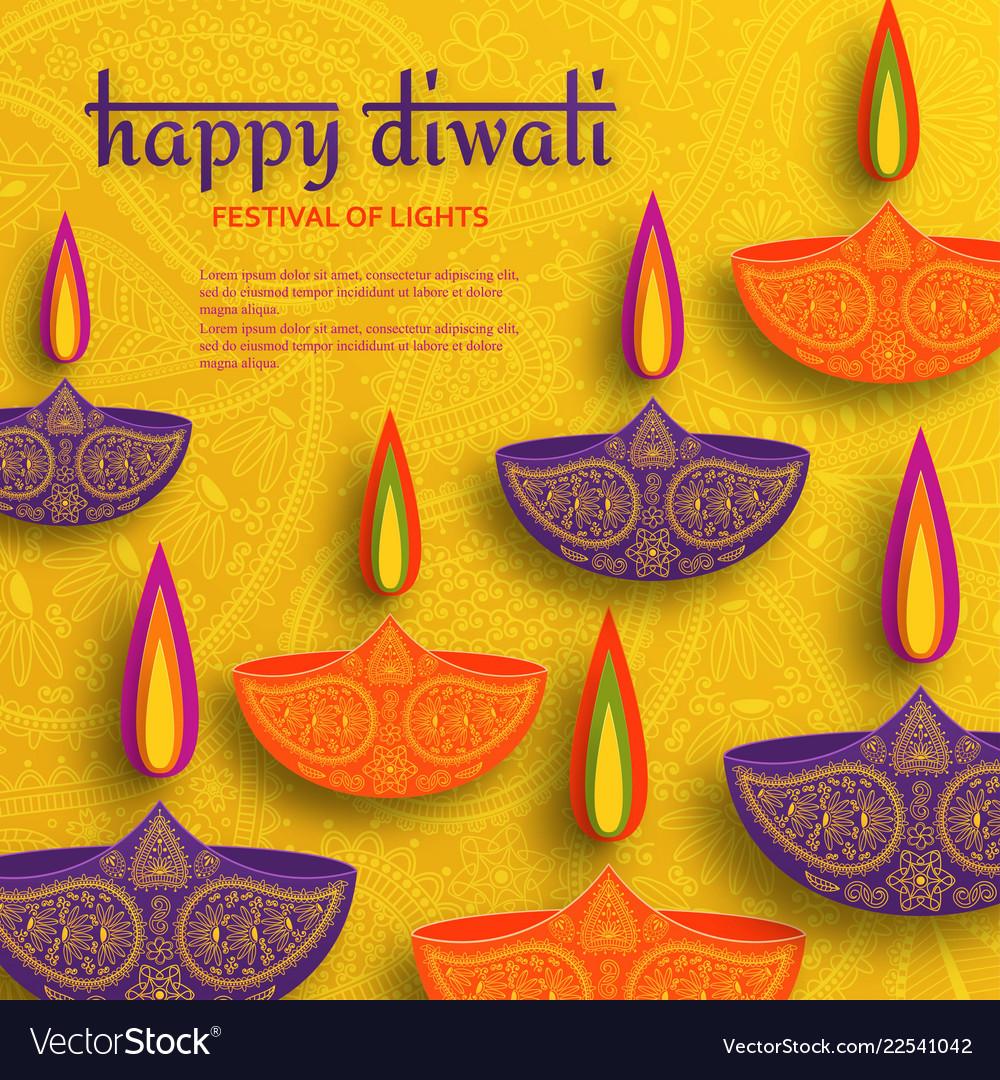 Greeting card for diwali festival celebration in
