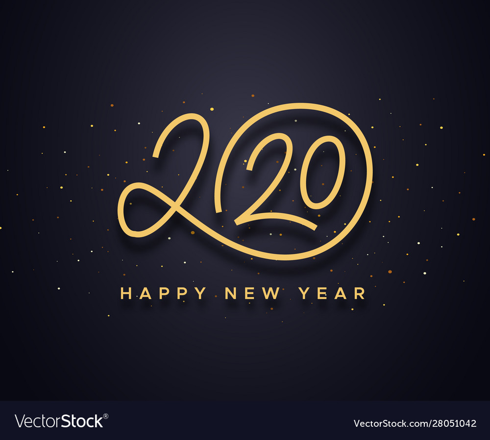 happy new year 2020 wishes typography royalty free vector vectorstock