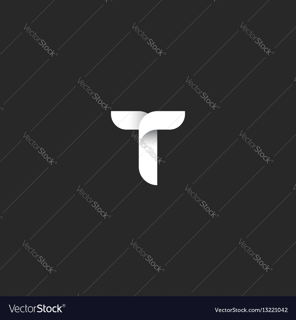 Letter t logo initial symbol black and white vector image