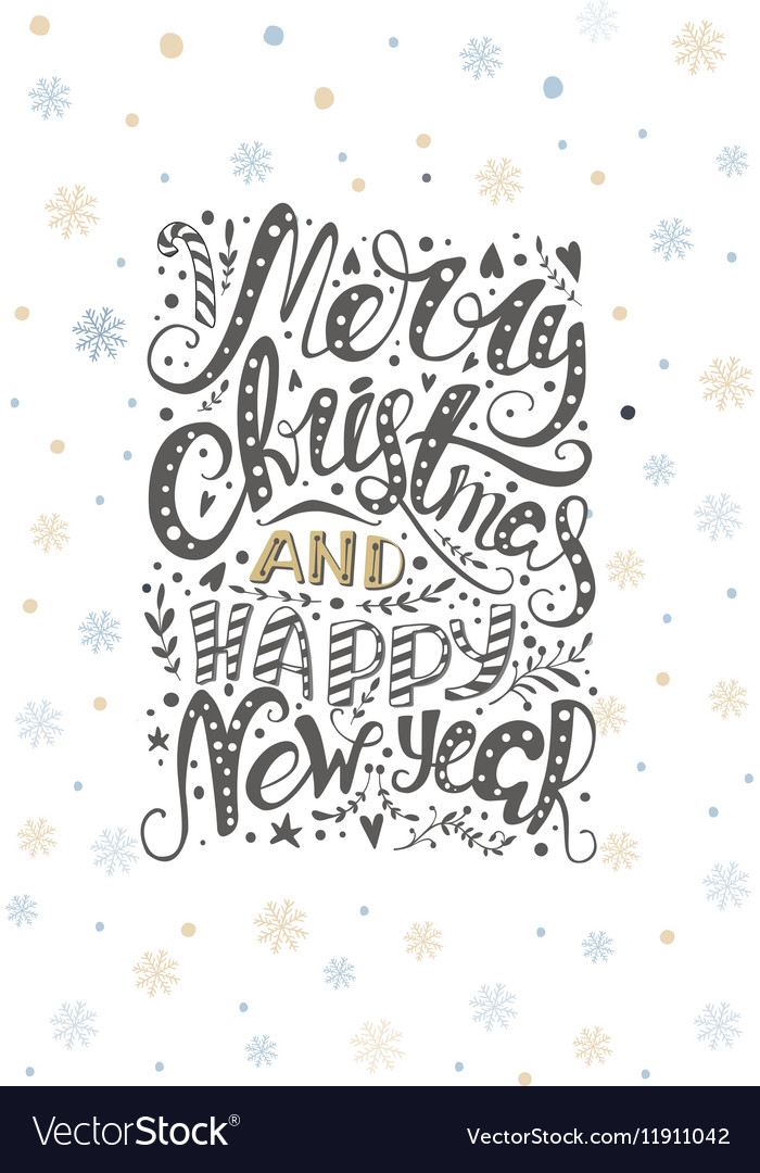 Merry christmas lettering over with snowflakes