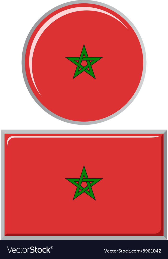 Moroccan round and square icon flag vector image
