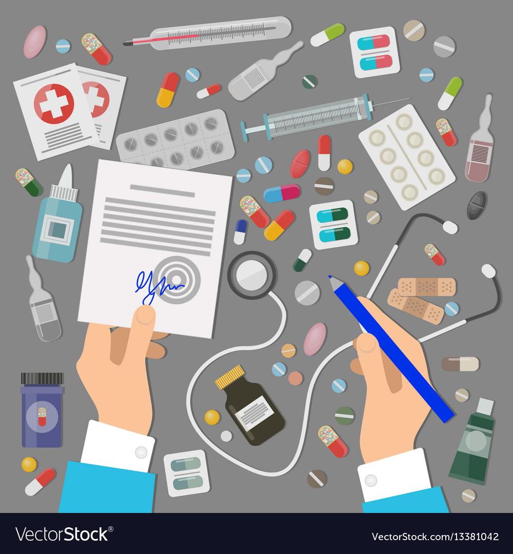 Pharmaceutics banner set medical prescription