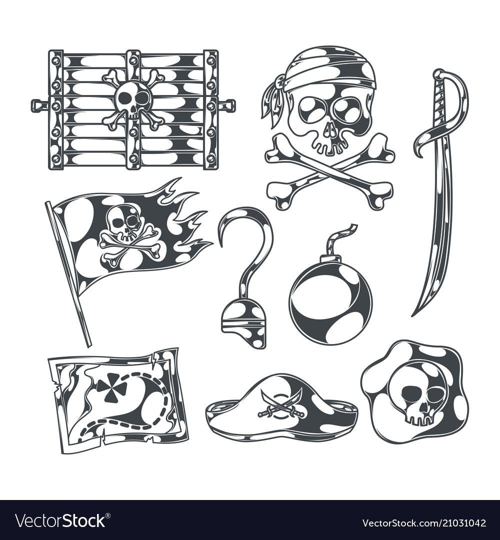 Pirates and treasures set