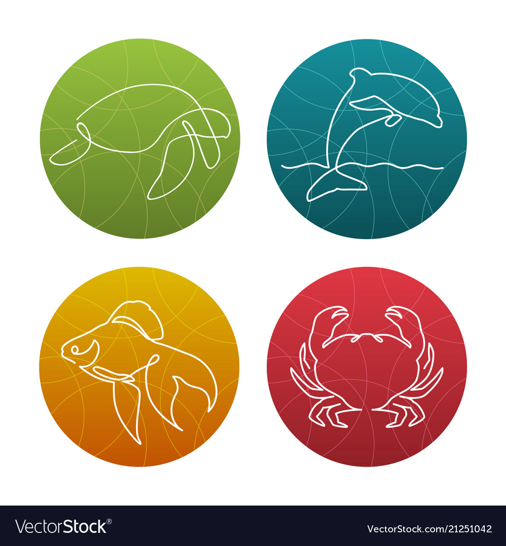 Set of 4 one line sea animals icons or logos