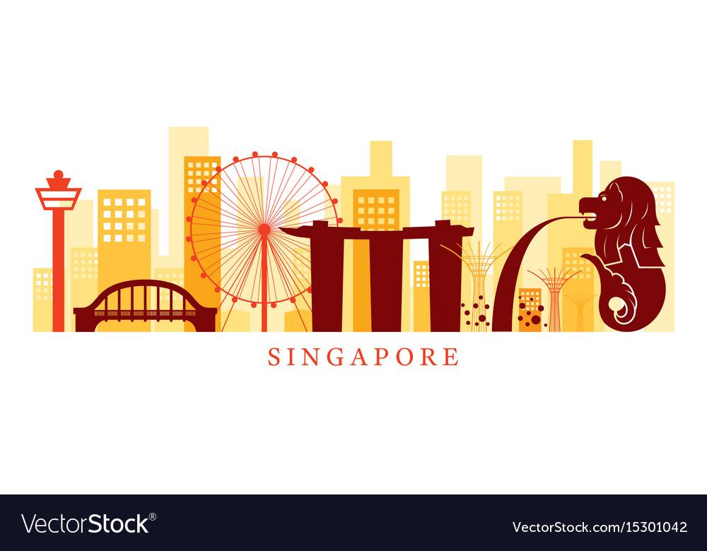 Singapore architecture landmarks skyline shape vector image