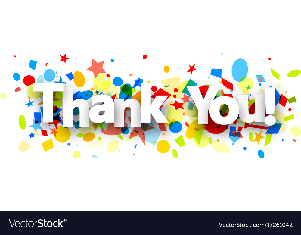 thank you background with confetti royalty free vector image