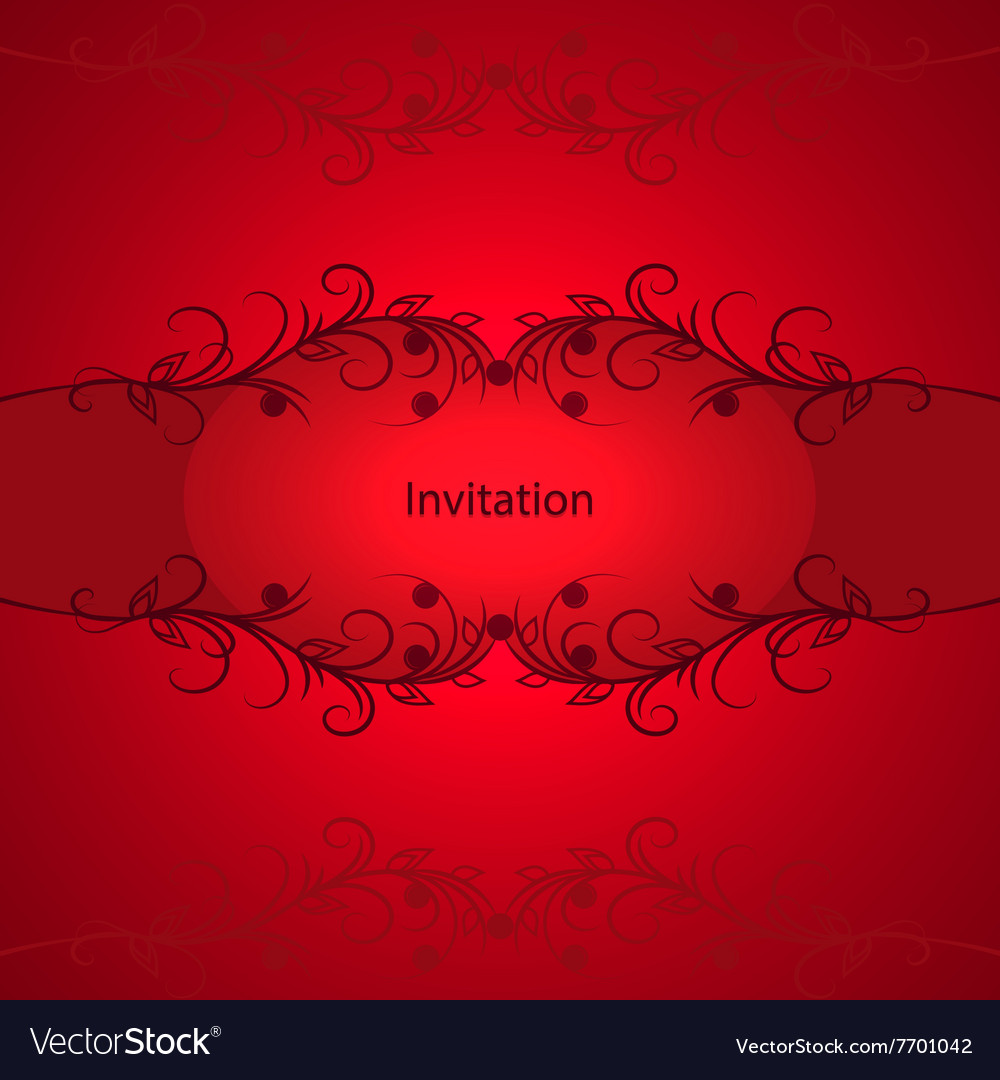 Vintage invitation card on red background vector image stopboris Images