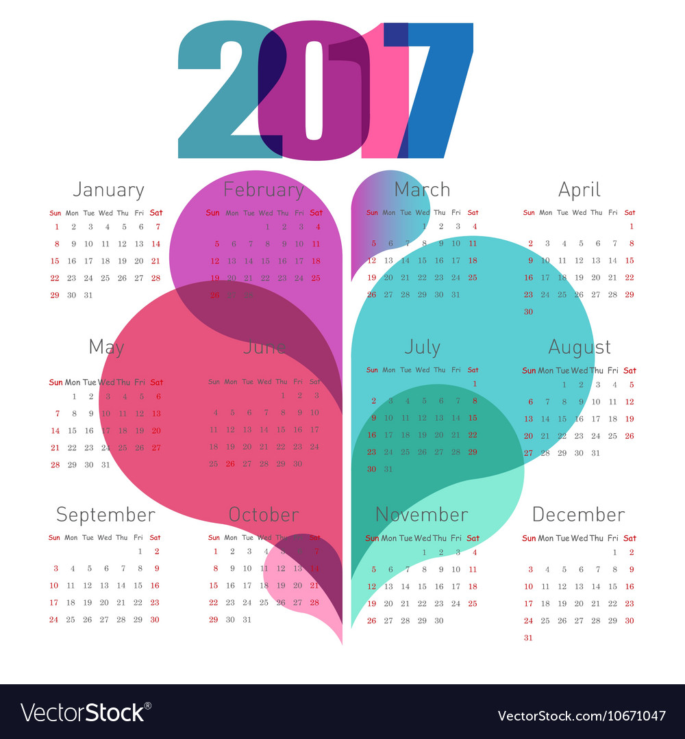 Abstract calendar 2017 with colorful shapes