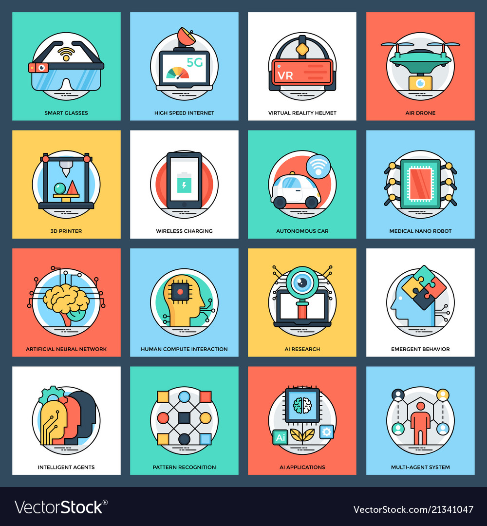 Artificial intelligence flat icons set