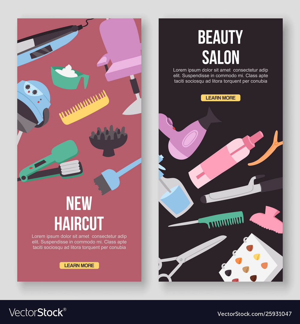 Beauty Salon Tools Concept Banners Haircut Vector Image