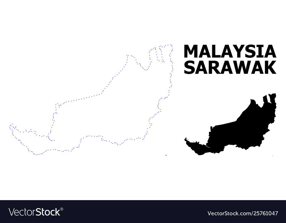 Contour dotted map sarawak with caption