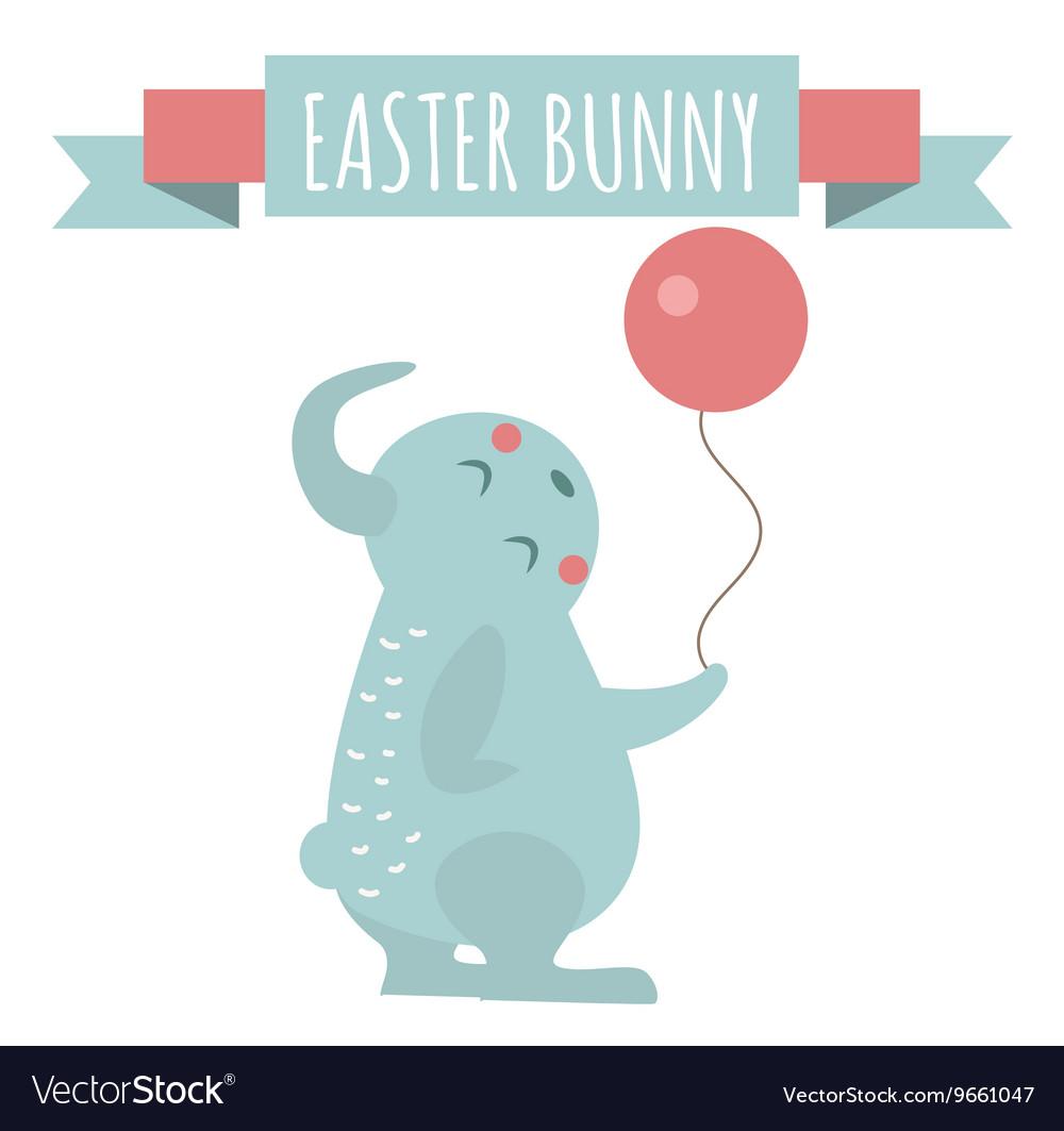 Cute bunny holding ball