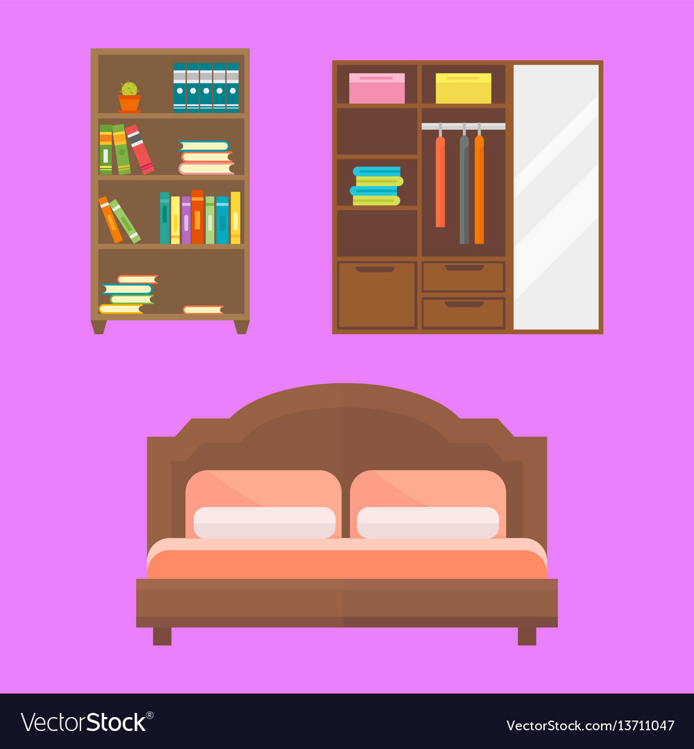 Furniture home decor icon set indoor cabinet vector image on VectorStock