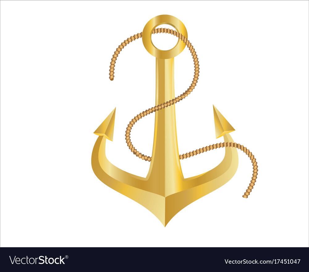 Gold Anchor And Rope On White Background Vector Image