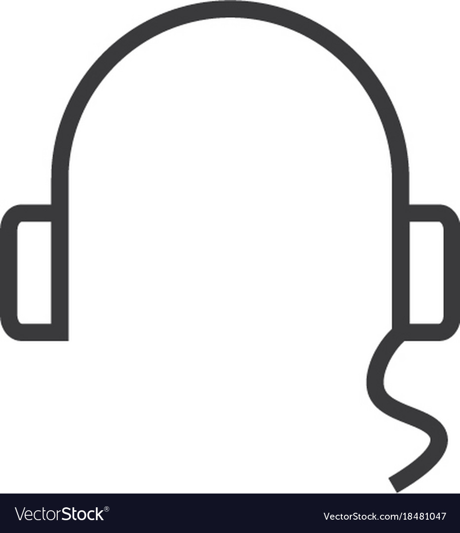 Headset icon line style vector image