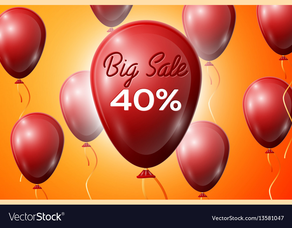 Red balloons with an inscription big sale forty
