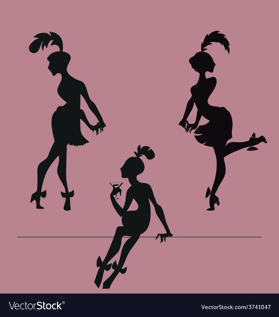 Silhouette of roaring 20s flappers girl