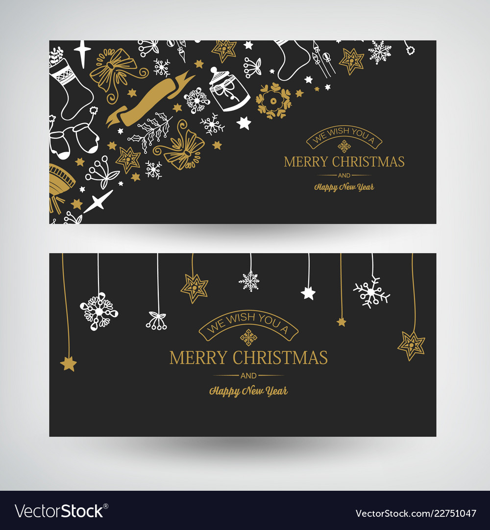 Winter holidays festive horizontal banners