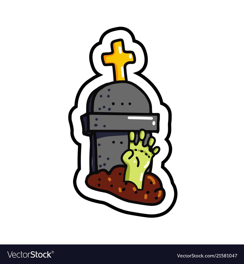 Zombie arm in grave sticker