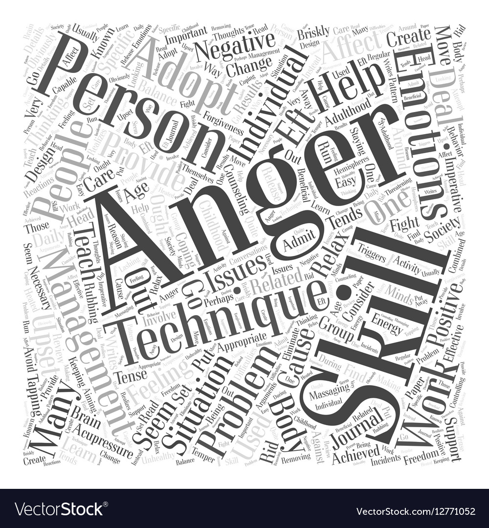 adopting anger management skills that work word vector image