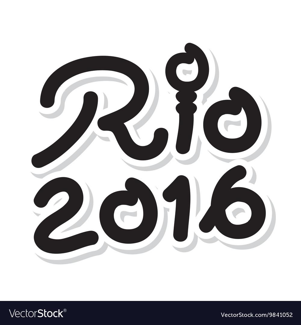 Black logo symbol Brazil 2016 Rio de Janeiro vector image