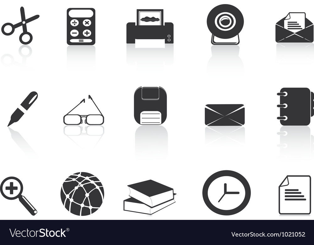 Black simple office icons set