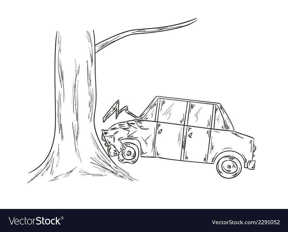 Car accident sketch Royalty Free Vector Image - VectorStock