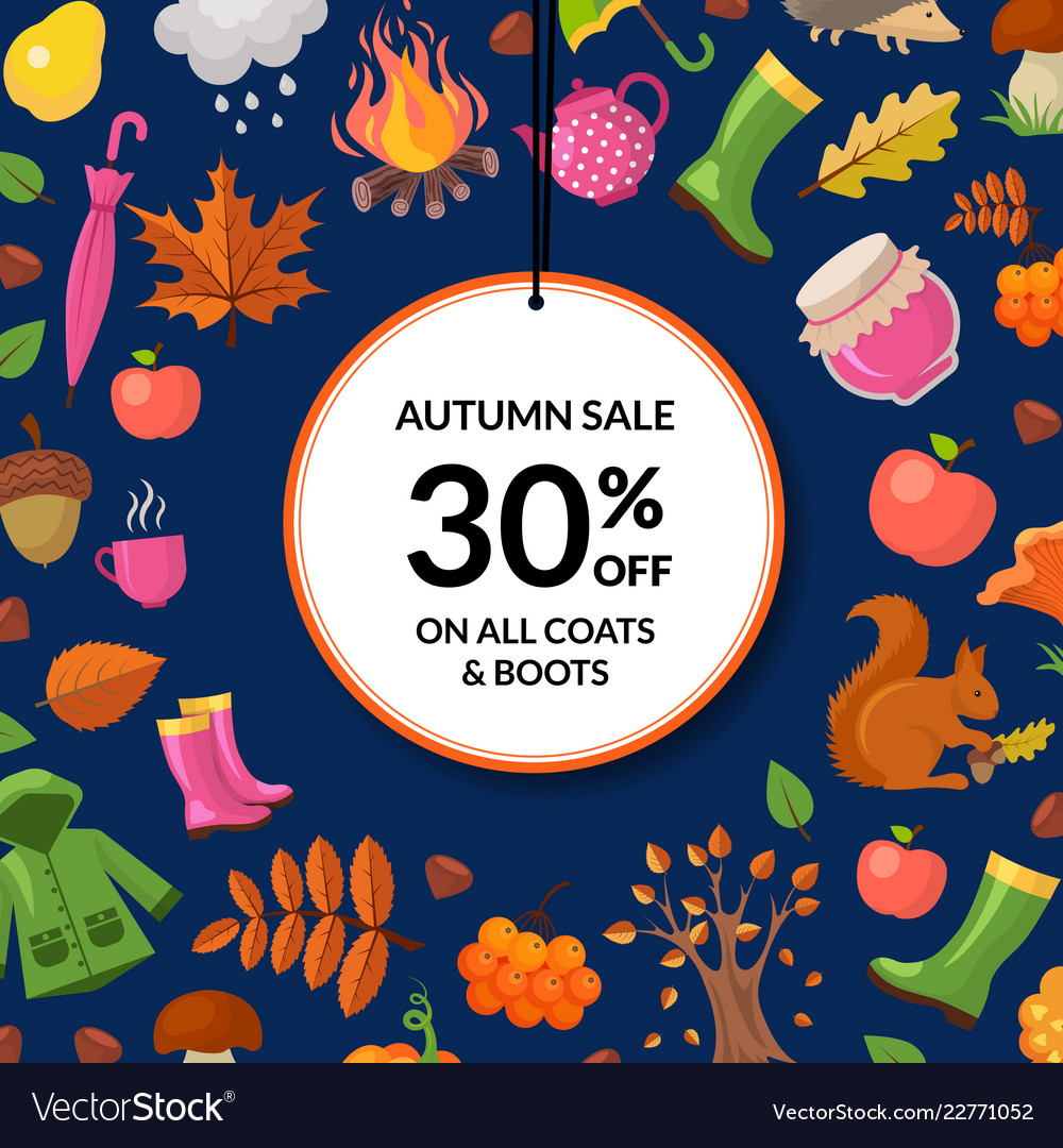 Cartoon autumn elements and leaves sale