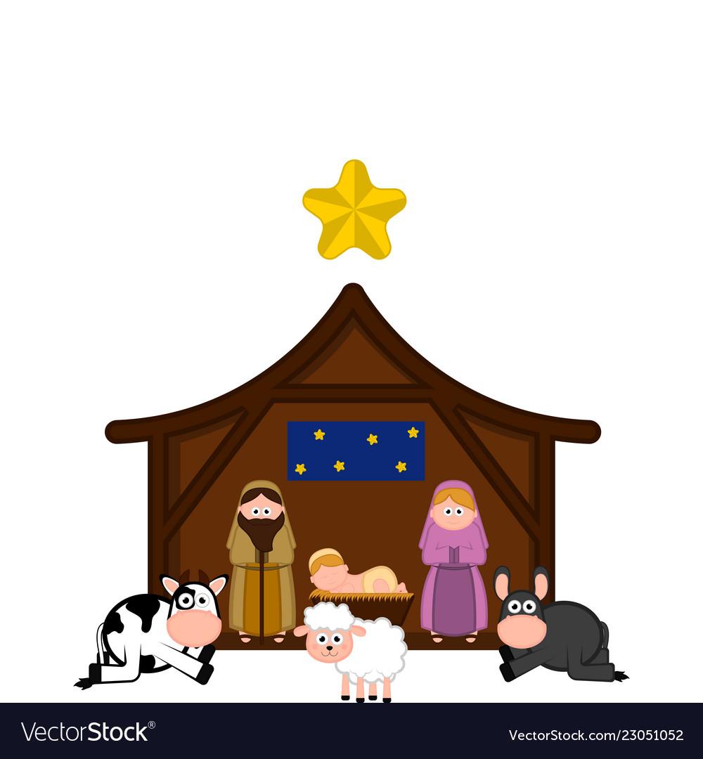 Mary and Joseph with Baby Jesus Nativity Scene - Royalty Free Clip Art Image