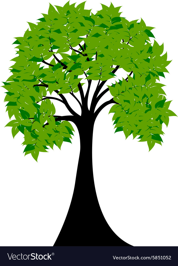 Decorative Green Tree Silhouette With Green Leaves