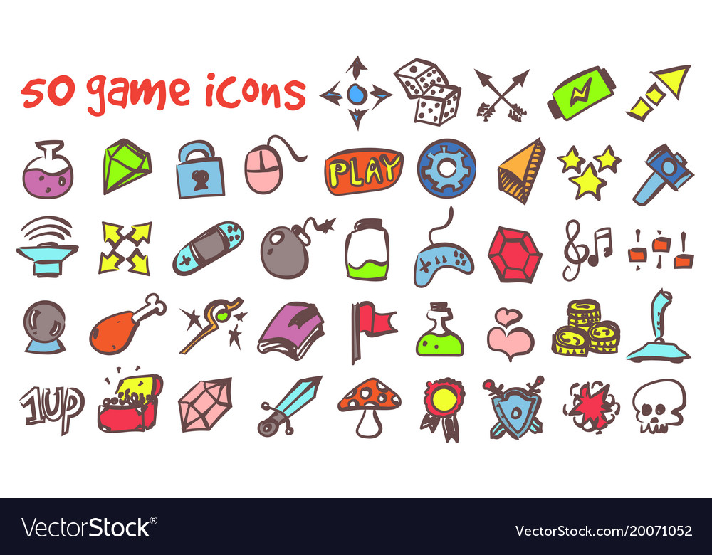 Doodle game icons set
