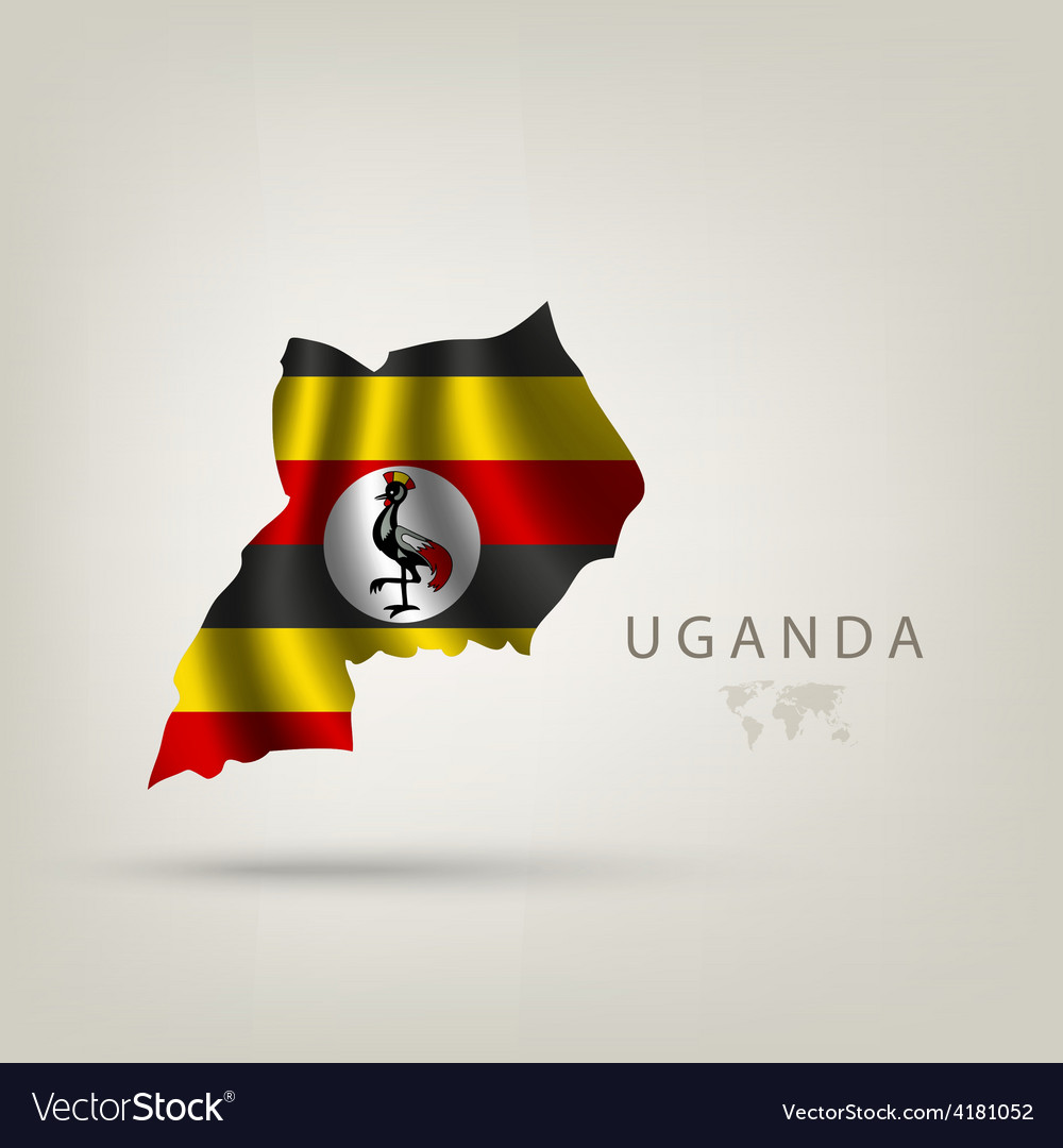 Flag uganda as a country with a shadow