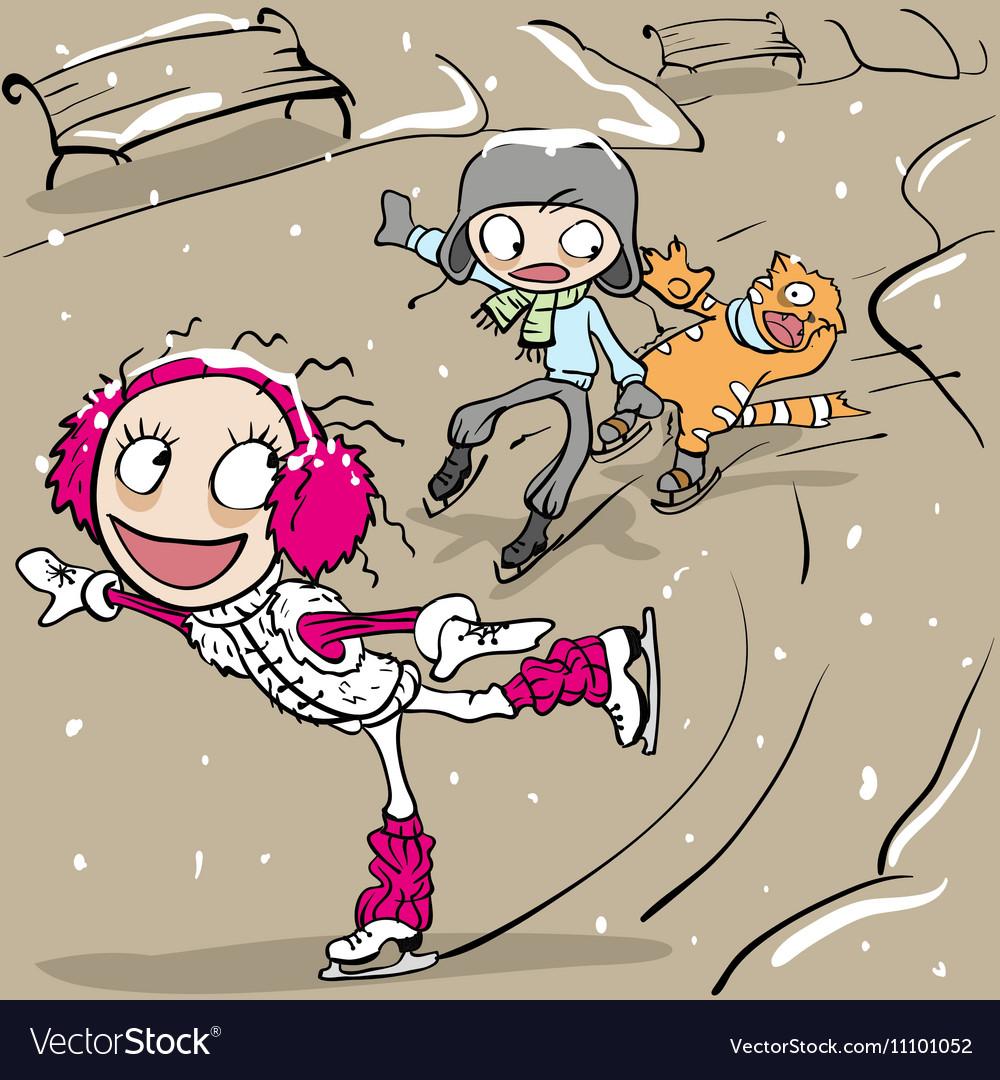 Funny figure skating Girl and boy skating