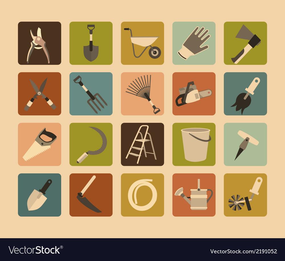 Garden Tools Flat Icon Set