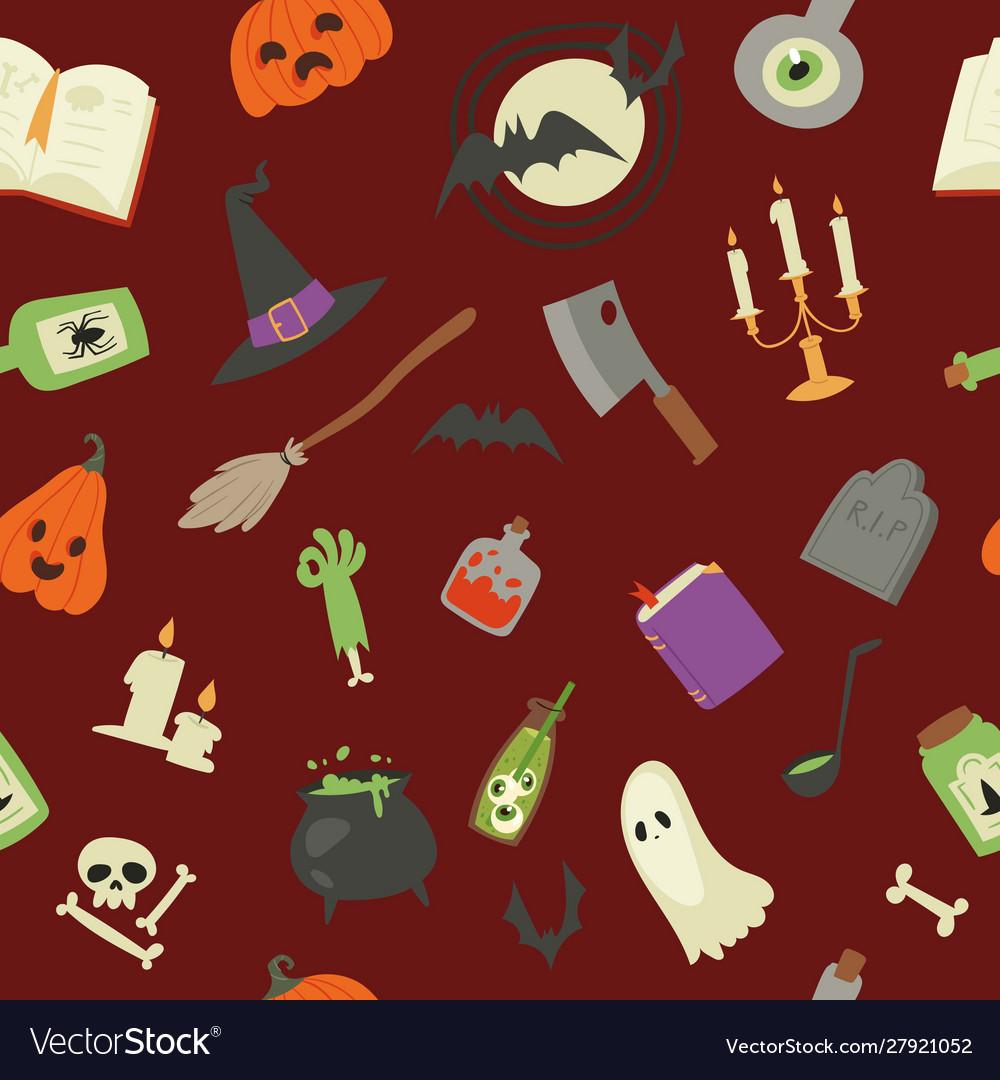 Halloween seamless pattern pumpkin ghost