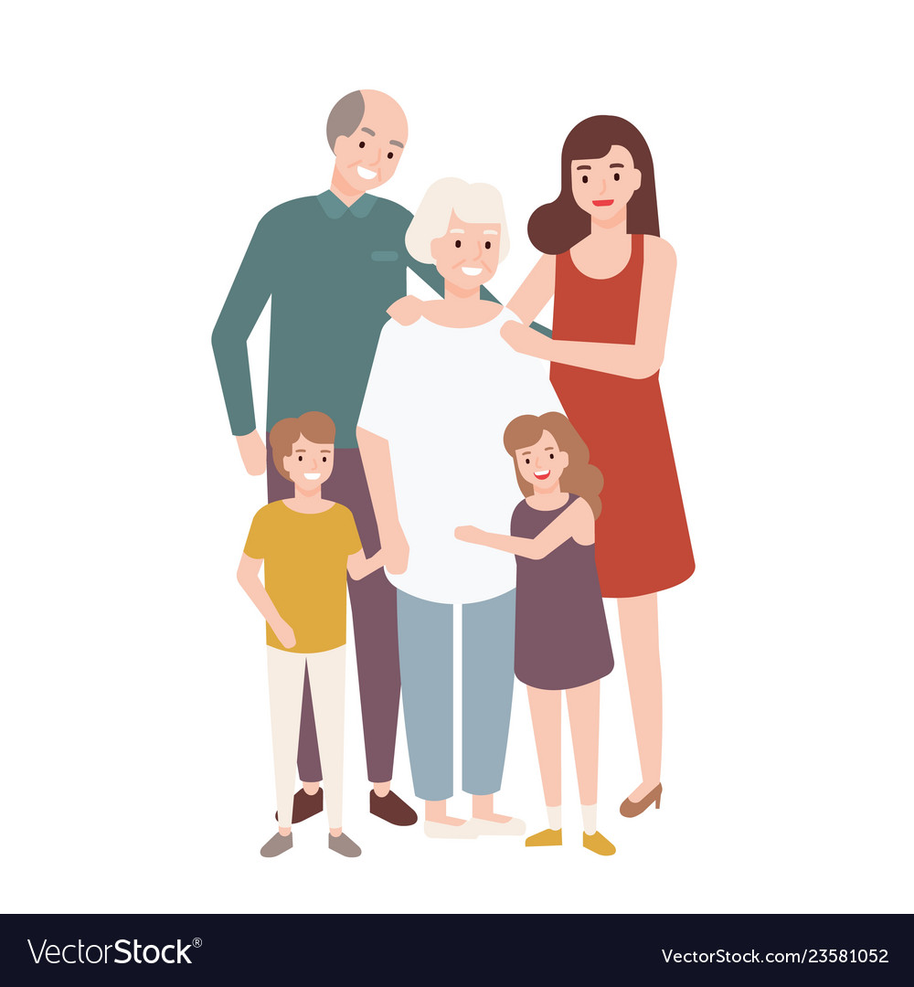 Happy family with grandfather grandmother mother