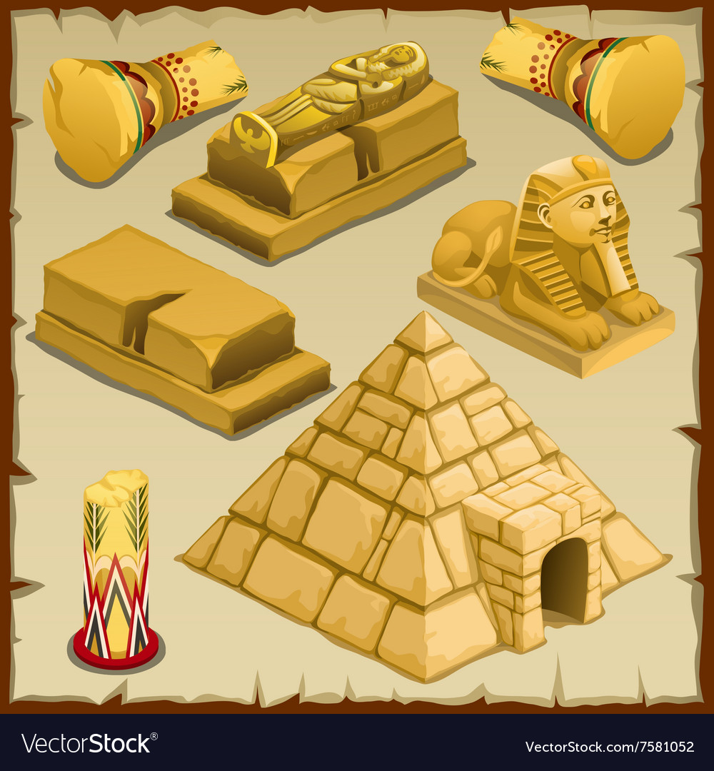 Sarcophagus and the pyramid symbols of ancient vector image