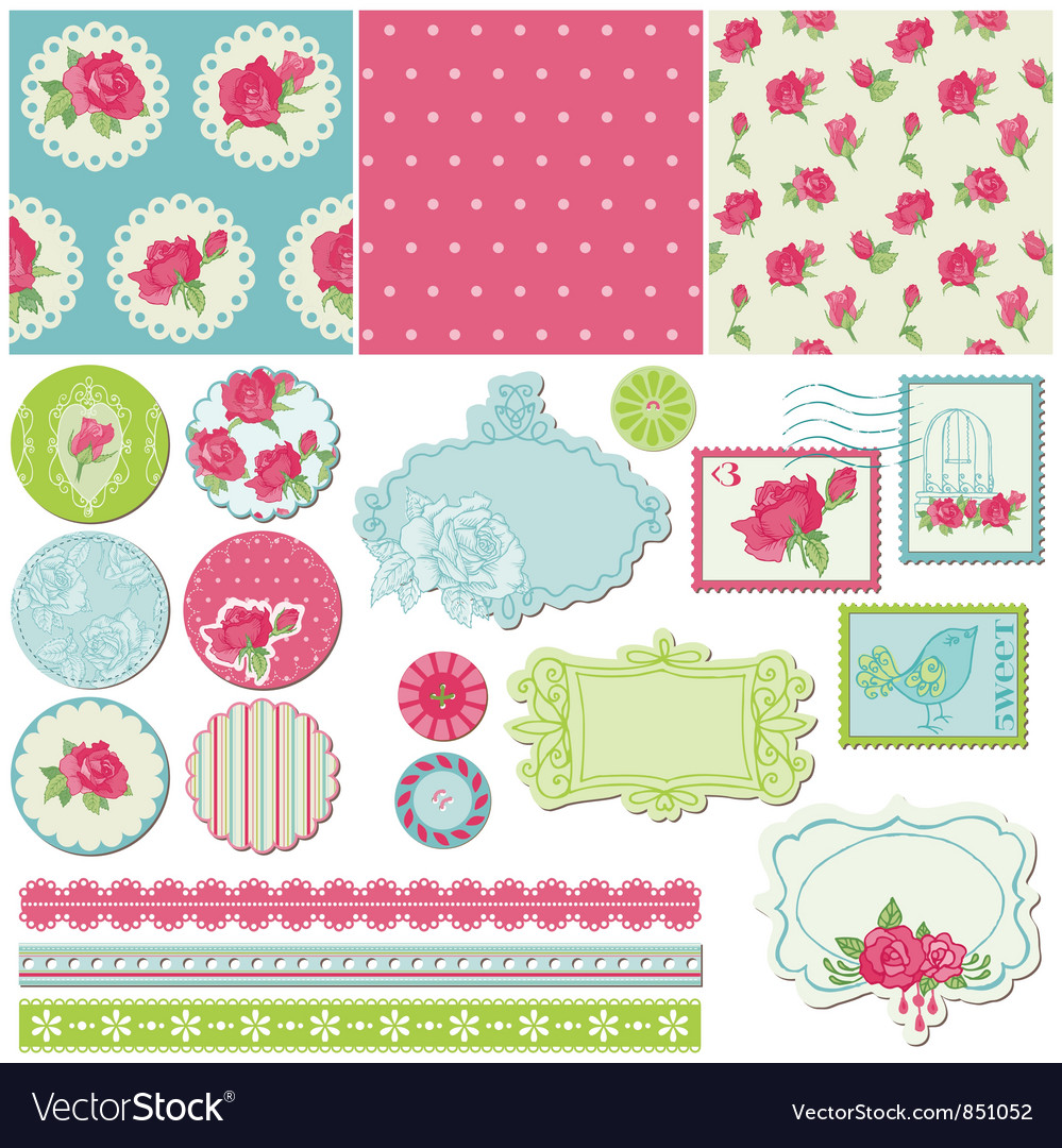 Scrapbook Design Elements - Rose Flowers