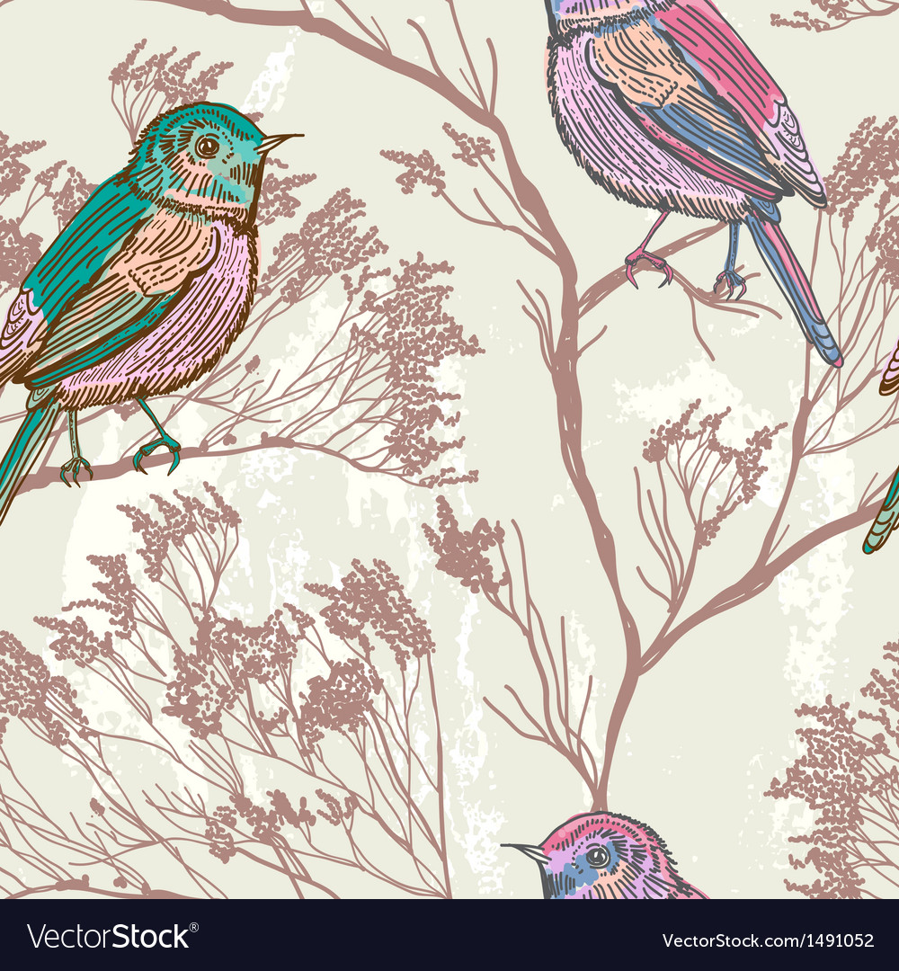 Seamless floral background with bird vector image