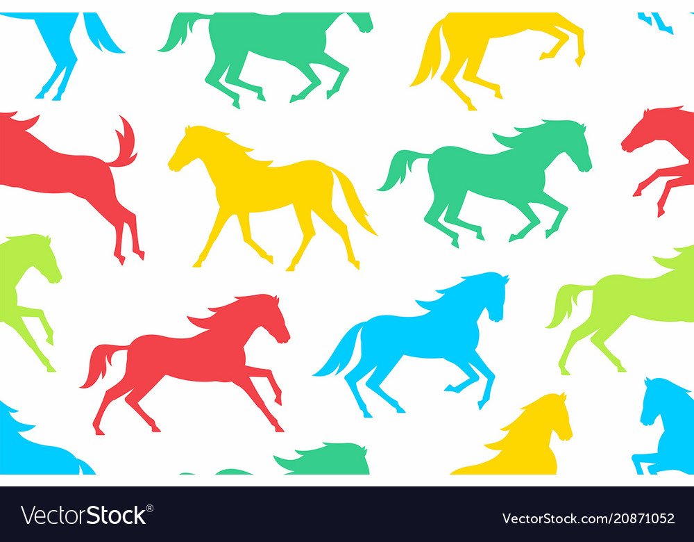 Seamless pattern with colorful horses silhouettes