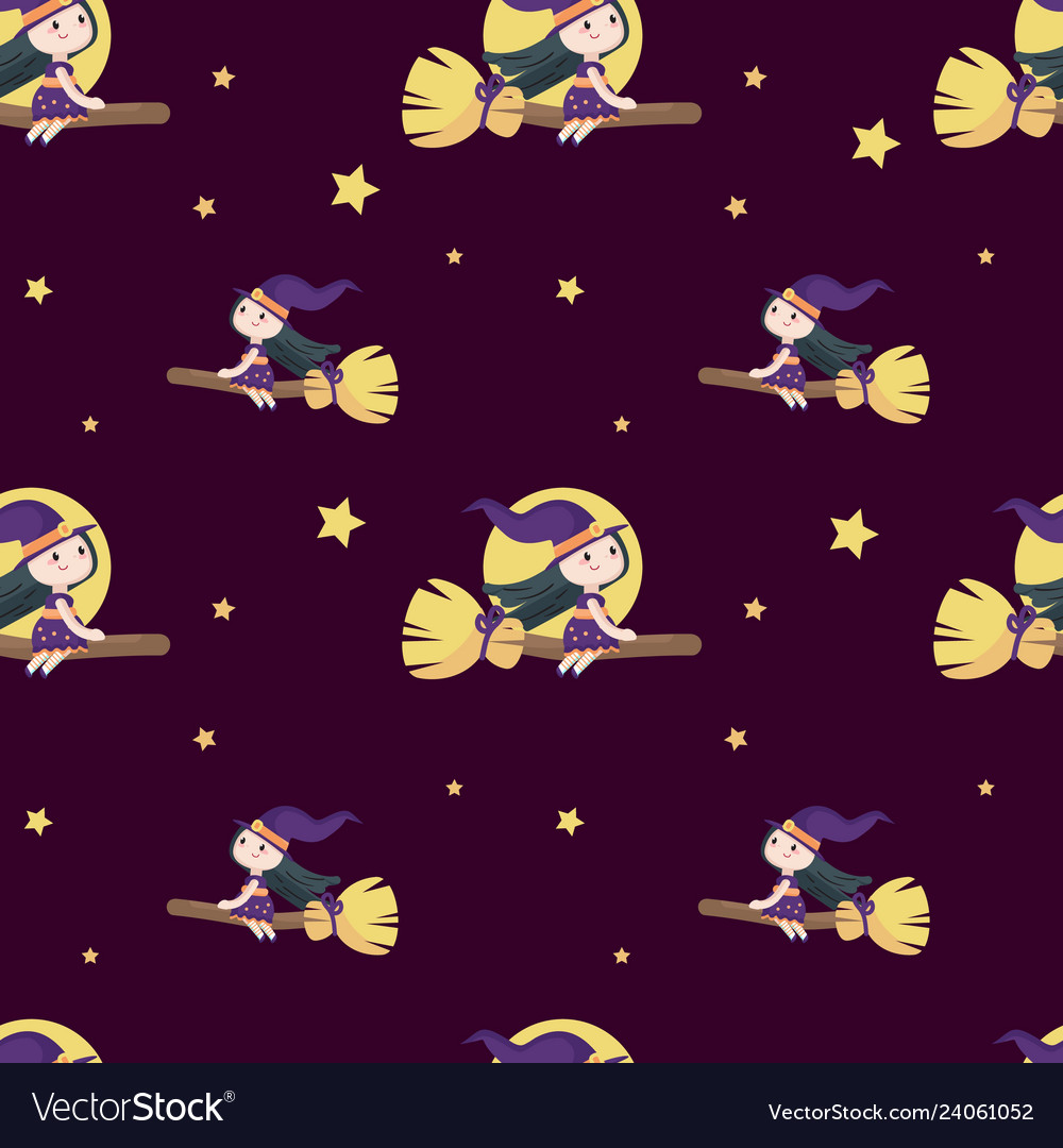 Seamless pattern with cute little halloween
