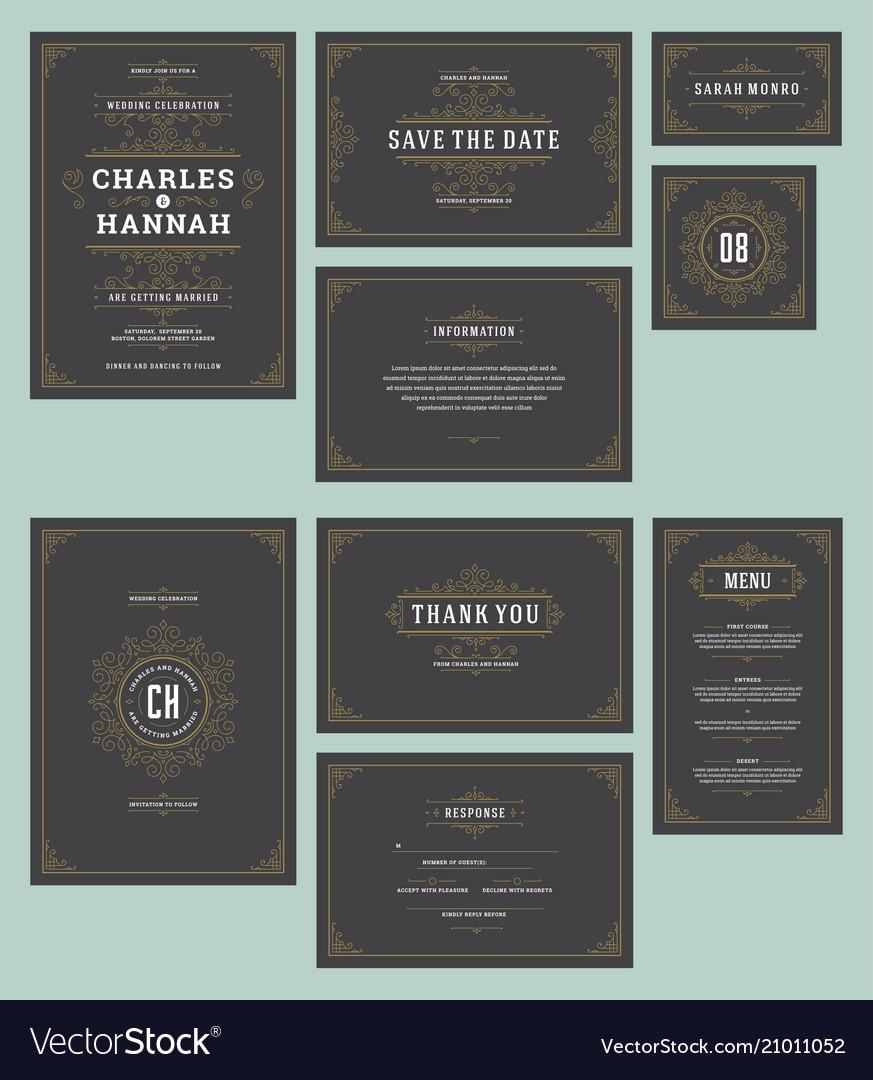 Set wedding invitations cards flourishes ornaments