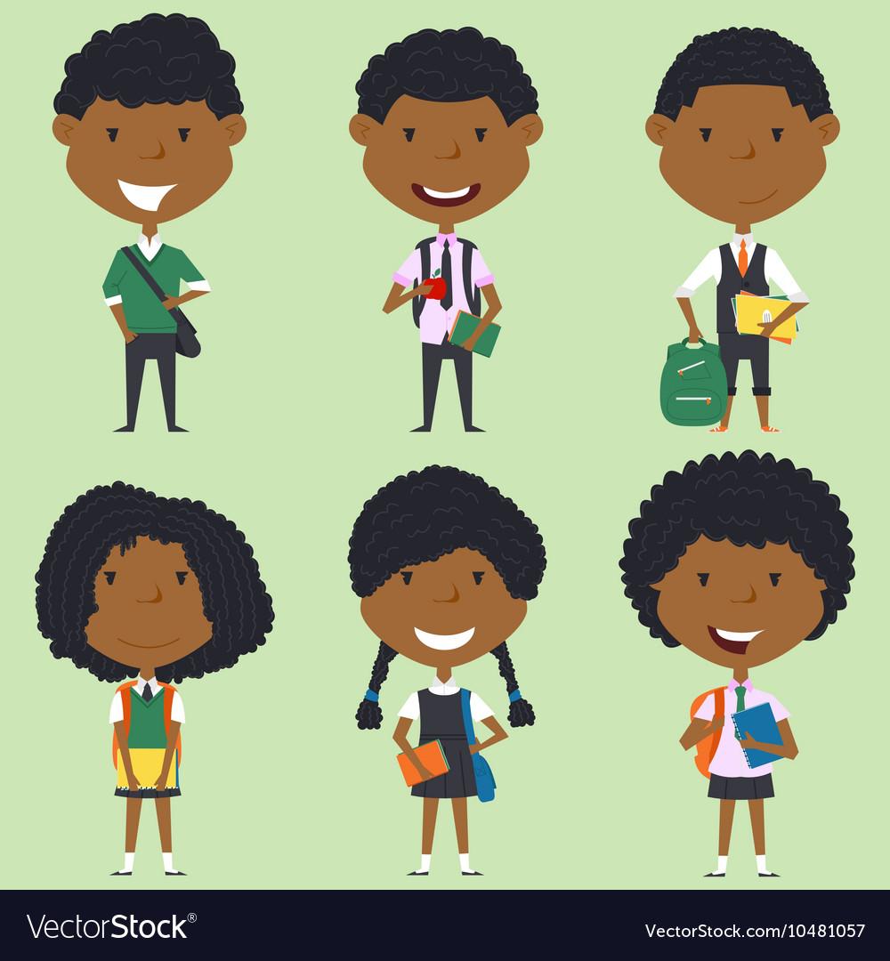 African american school boys and girls