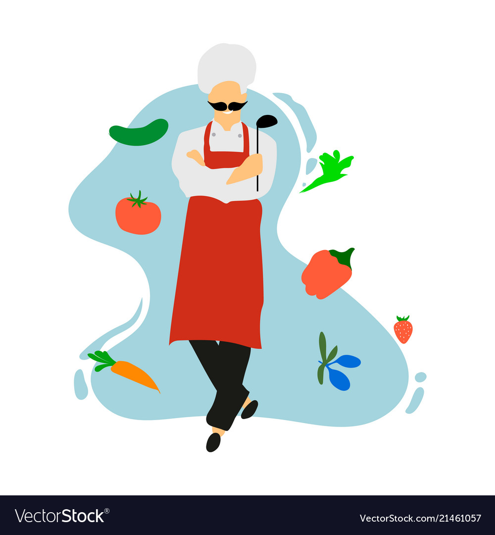 Chef in restaurant kitchen cooking cute cook in Vector Image