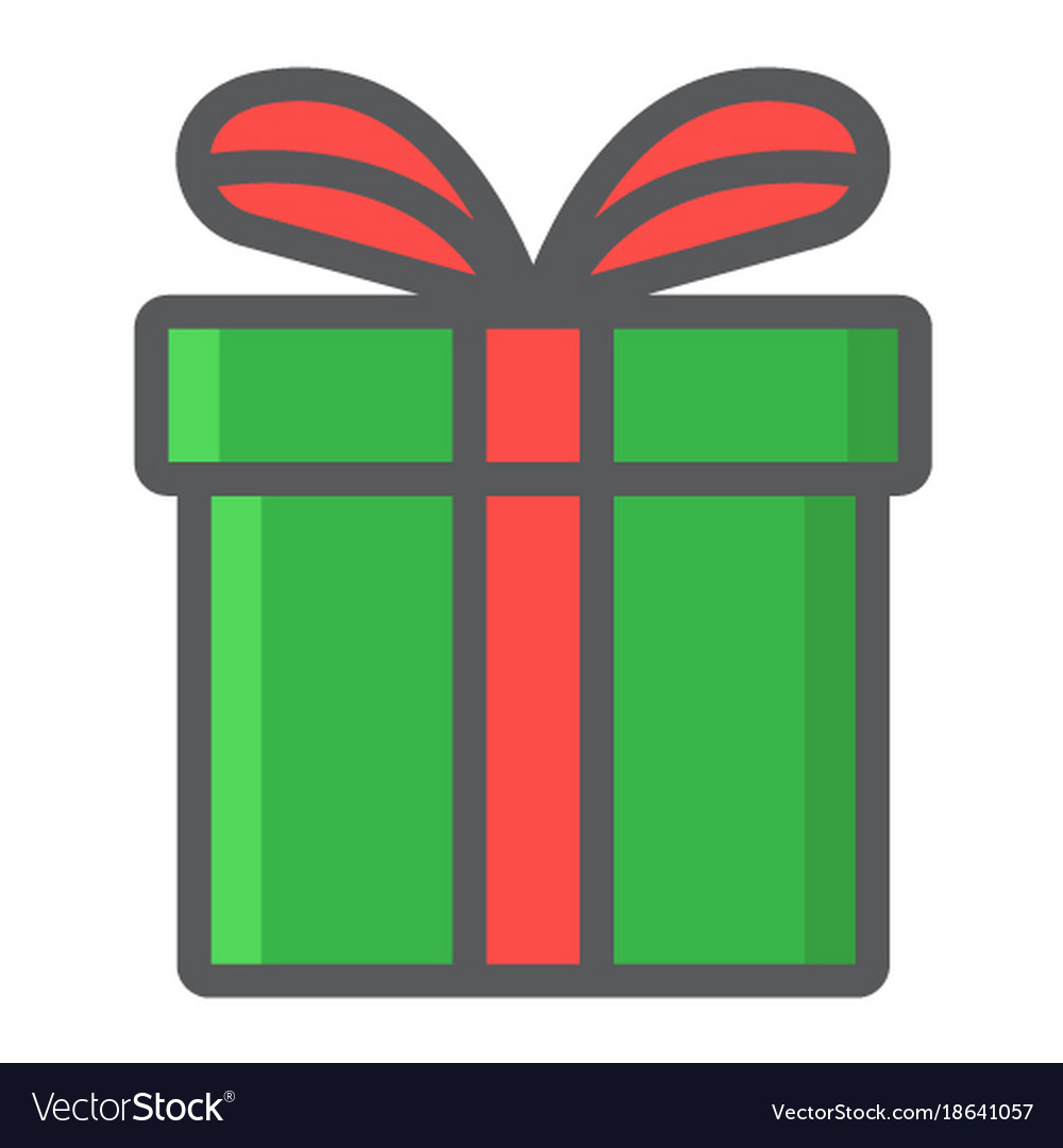 Christmas gift box filled outline icon new year vector image