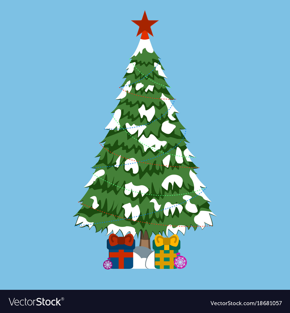 Christmas tree wtih gifts and red star xmas icon Vector Image
