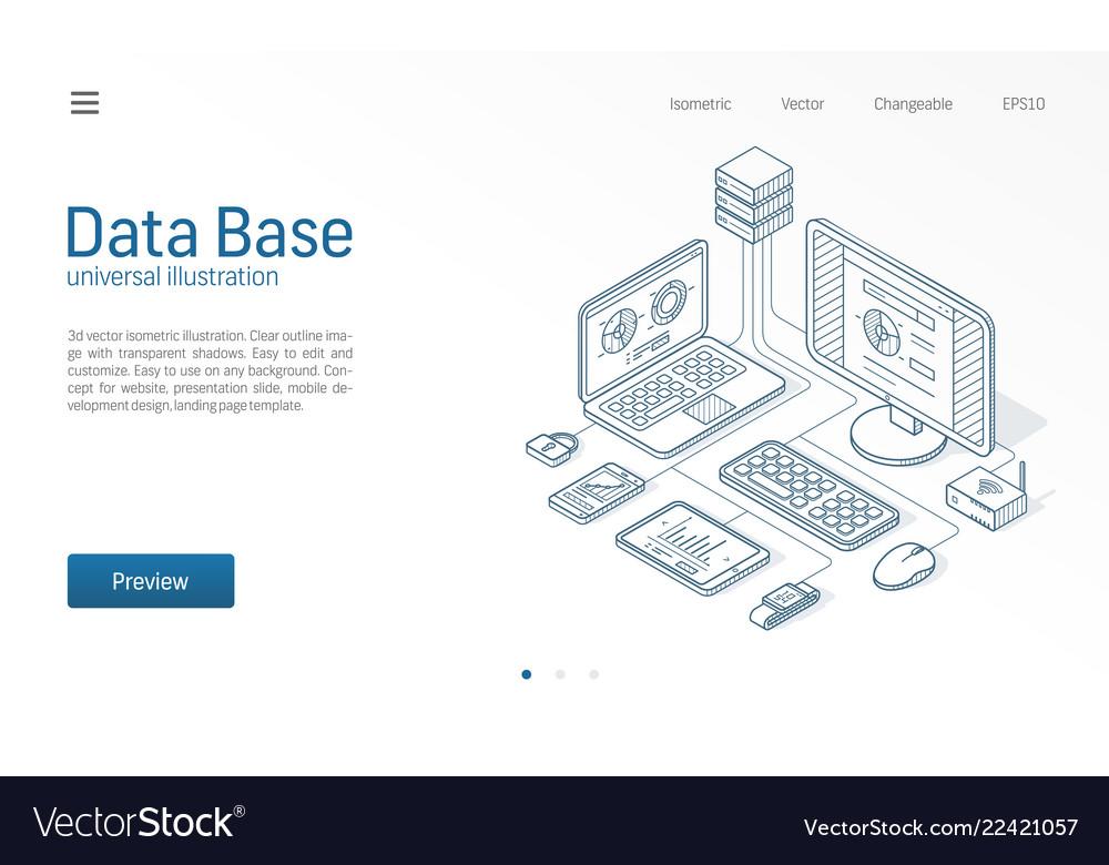 Database big data host server modern isometric